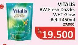 Promo Harga VITALIS Body Wash Fresh Dazzle, White Glow 450 ml - Alfamidi