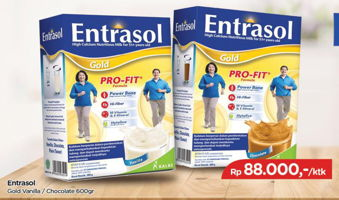 Promo Harga ENTRASOL Gold Susu Bubuk Vanilla, Chocolate 600 gr - TIP TOP