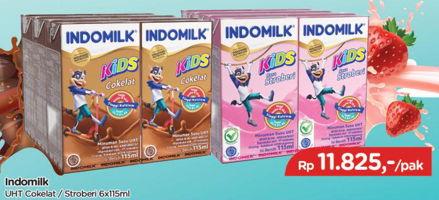 Promo Harga INDOMILK Susu UHT Cokelat, Stroberi per 6 pcs 115 ml - TIP TOP