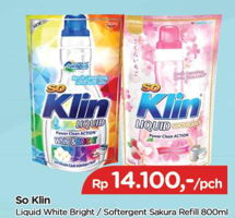 Promo Harga SO KLIN Liquid Detergent Power Clean Action White Bright, + Softergent Soft Sakura 800 ml - TIP TOP