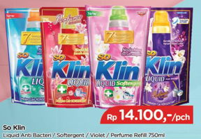 Promo Harga SO KLIN Liquid Detergent + Anti Bacterial Biru, + Softergent Pink, + Anti Bacterial Violet Blossom, + Anti Bacterial Red Perfume Collection 750 ml - TIP TOP