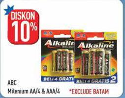 Promo Harga ABC Battery Alkaline Millennium Power LR6/AA, LR03/AAA 4 pcs - Hypermart