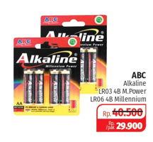 Promo Harga ABC Battery Alkaline Millennium Power LR03/AAA, LR6/AA 4 pcs - Lotte Grosir