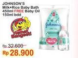 Promo Harga JOHNSONS Baby Milk Bath Milk + Rice 400 ml - Indomaret