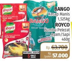 Promo Harga BANGO BANGO Kecap Manis 1500ml + ROYCO Penyedap Rasa Ayam 460gr  - Lotte Grosir
