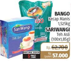 Promo Harga BANGO BANGO Kecap Manis 1500ml + SARIWANGI Teh Asli 100s  - Lotte Grosir