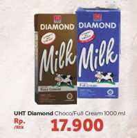 Promo Harga DIAMOND Milk UHT Chocolate, Full Cream 1000 ml - Carrefour