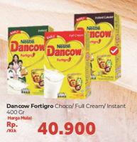 Promo Harga DANCOW FortiGro Susu Bubuk Full Cream, Instant Cokelat, Instant 400 gr - Carrefour