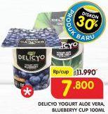 Promo Harga DELICYO Yoghurt Aloe Vera, Blueberry 100 ml - Superindo