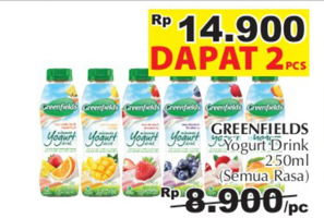 Promo Harga GREENFIELDS Yogurt Drink All Variants per 2 botol 250 ml - Giant