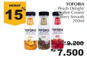 YOFORIA Yoghurt 200 ml Diskon 18%, Harga Promo Rp7.500, Harga Normal Rp9.200, Giant Ekstra,Giant Ekspres