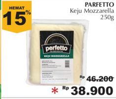 PERFETTO Keju Mozzarella 250 gr Diskon 16%, Harga Promo Rp38.900, Harga Normal Rp46.200, Toko Tertentu