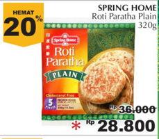 SPRING HOME Roti Paratha 320 gr Diskon 20%, Harga Promo Rp28.800, Harga Normal Rp36.000, Toko Tertentu