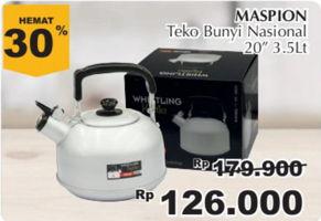 MASPION Teko Bunyi Nasional 3500 ml Diskon 30%, Harga Promo Rp126.000, Harga Normal Rp179.900, Giant Ekstra,Giant Ekspres