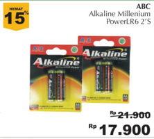 ABC Battery Alkaline Millennium Power 2 pcs Diskon 18%, Harga Promo Rp17.900, Harga Normal Rp21.900, Giant Ekstra,Giant Ekspres