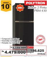 POLYTRON PRM 430X   Refrigerator 300 L  Diskon 13%, Harga Promo Rp4.479.000, Harga Normal Rp5.149.000, CIcilan Rp. 186.625/24 bln Tempered Glass Door/Humidity Control Crisper, Portable Ice Twist Tray, Giant Ekstra,Giant Ekspres