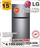 LG GN-B215 | Kulkas 2 Pintu  Diskon 16%, Harga Promo Rp4.199.000, Harga Normal Rp4.999.000, Cicilan Rp. 174.958/24 bln Inverter Compressor/Full Insulation/Multi Air Flow, Giant Ekstra,Giant Ekspres