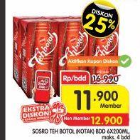 Promo Harga SOSRO Teh Botol Kotak per 6 pcs 200 ml - Superindo