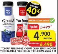 Promo Harga YOFORIA Yoghurt Berry Smooth, Lychee Blast, Peach Delight 200 ml - Superindo