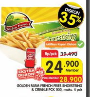 Promo Harga GOLDEN FARM French Fries Shoestring, Crinkle 1 kg - Superindo