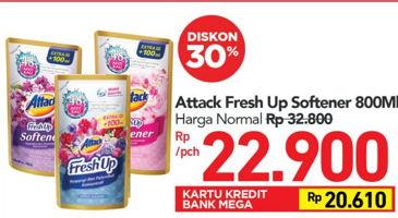Promo Harga ATTACK Fresh Up Softener 800 ml - Carrefour