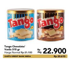 Promo Harga TANGO Wafer Chocolate, Vanilla Milk 315 gr - Carrefour