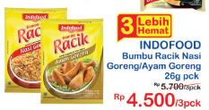 Promo Harga INDOFOOD Bumbu Racik Nasi Goreng, Ayam Goreng per 3 sachet 26 gr - Indomaret