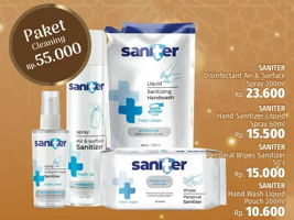 Promo Harga SANITER Saniter Disinfectant Spray + Gel Hand Sanitizer + Wet Wipes + Hand Wash  - LotteMart