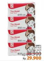Promo Harga SAVE L Tisu Wajah per 4 pouch 200 pcs - LotteMart