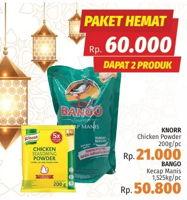 Promo Harga KNORR KNORR Chicken Powder 200g + BANGO Kecap Manis 1525gr  - LotteMart