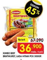 Promo Harga KIMBO Bratwurst Original, Lada Hitam 500 gr - Superindo
