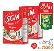 Promo Harga SGM Eksplor 1+/ 3+ Vanilla, Madu 900 gr - LotteMart