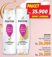 Promo Harga PANTENE Shampoo Hair Fall Control 135ml + Conditioner Hair Fall Control 135ml  - LotteMart